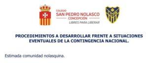PROCEDIMIENTOS A DESARROLLAR FRENTE A SITUACIONES EVENTUALES DE LA CONTINGENCIA NACIONAL.